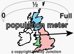 map of UK with population meter reacing beyond full
